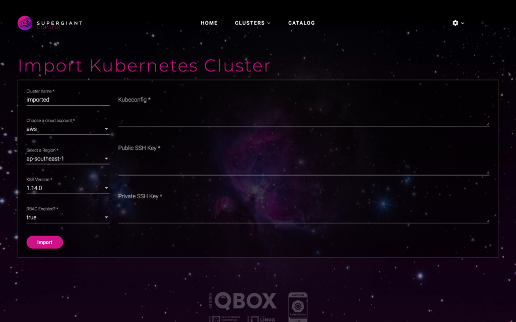 Supergiant Control: Importing Clusters